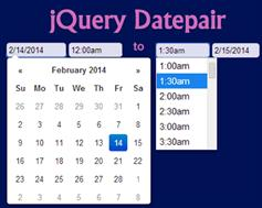 jQuery谷歌日期和时间范围日历插件