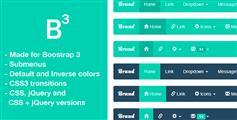 Bootstrap3带图标扁平化下拉导航菜单