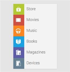 Google Play的垂直菜单
