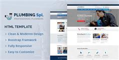 蓝色响应设计管道维修服务&水龙头销售公司网站HTML模板 - Plumbing Spl