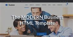 Fusion一个时尚企业网站HTML模板_Bootstrap蓝色响应企业模板兼容手机端