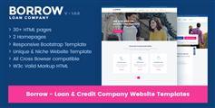 深蓝色HTML5贷款公司网站模板Bootstrap响应式金融企业小贷公司模板 - Borrow