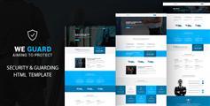 蓝色企业HTML网站模板_响应式Bootstrap企业模板HTML5框架 - WE GUARD
