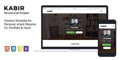 个人电子名片html5模板_Bootstrap个人博客简历网站模板 - Kabir