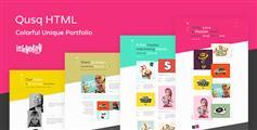 色彩绚丽的设计师html网站模板_Bootstrap作品展示网站UI框架 - Qusq