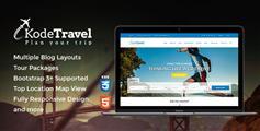 旅游&旅行社HTML5模板_Bootstrap蓝色大气旅行社HTML框架 - KodeTravel