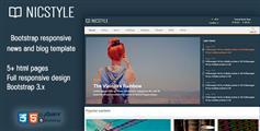 响应布局HTML5兼容手机设备的新闻,杂志和博客网站模板 - Nicstyles
