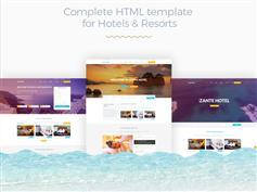 酒店度假村房间预订HTML模板设计_在线预订平台HTML5框架 - Zante Hotel