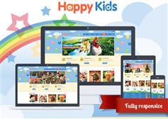 可爱的儿童网站HTML5模板_响应式幼儿园网站UI设计包含PSD - Happy Kids