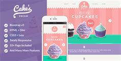 Bootstrap响应式蛋糕店电商模板CSS3甜品网上商城模板 - Cake Dream