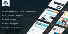 Laravel后台模板框架_6种布局Bootstrap4管理模板html5后台下载 - Admire