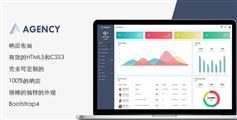 扁平Bootstrap4管理后台HTML模板UI界面|Agency