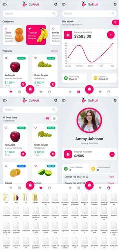 粉色HTML5手機端水果外賣電商模板