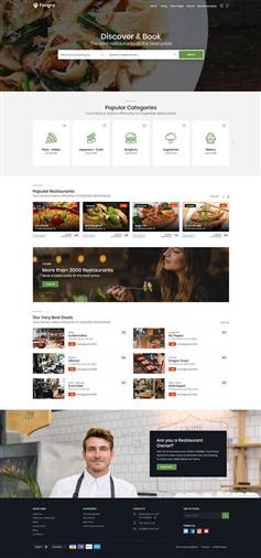 bootstrap餐饮预订商家平台网站静态模板