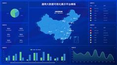 藍色大屏幕大數據分析統計html模板