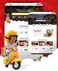 创意响应式美食外卖订餐平台网站Bootstrap模板