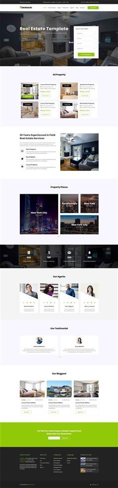 绿色大气Bootstrap4响应式房产租赁平台网站模板