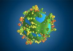 HTML5 3D綠色樹木地球動畫特效