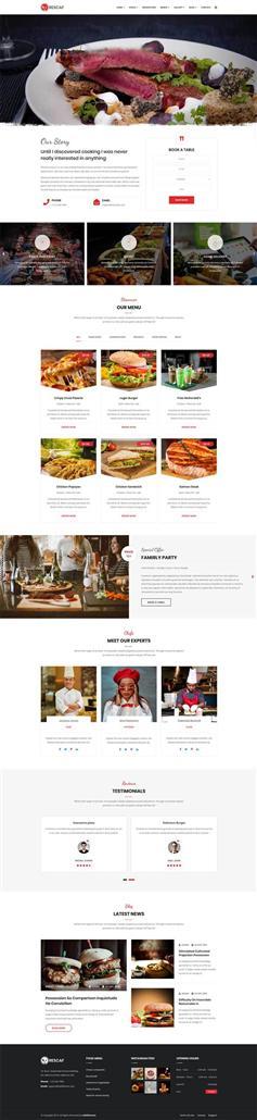 咖啡廳餐飲行業網站響應式HTML5模板
