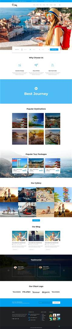 蓝色响应式设计旅行社组团网站Bootstrap模板