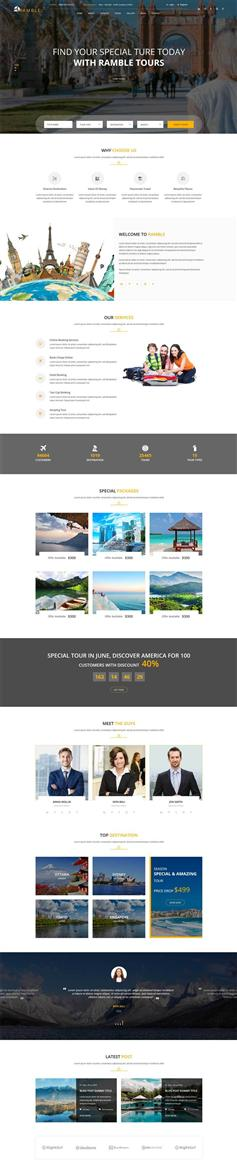 响应式旅游旅行社预订网站HTML模板
