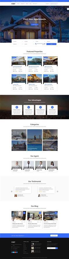 蓝色响应式HTML二手房产销售租赁平台模板