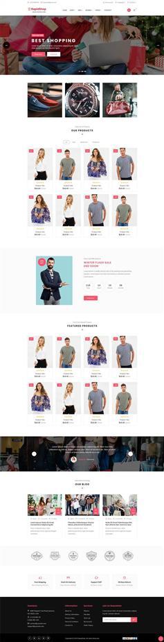 html粉色男女服装购物电商网站模板