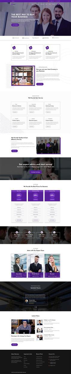 响应式企业商务代理网站HTML5紫色模板