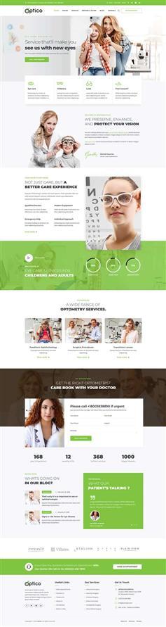 绿色bootstrap眼镜眼部护理医院网站模板