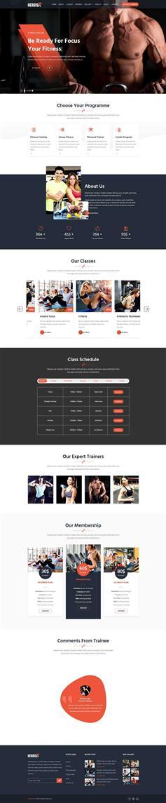 大气健身房私教课程网站响应式html模板
