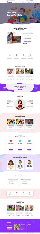 卡通HTML儿童早教托管机构网站模板