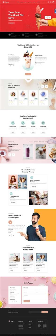 冰淇淋蛋糕店铺电商网页前端模板