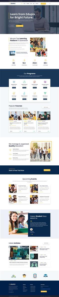 综合课程教育行业网站Bootstrap4模板