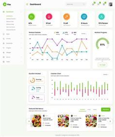 html运动健身app健康管理系统页面模板