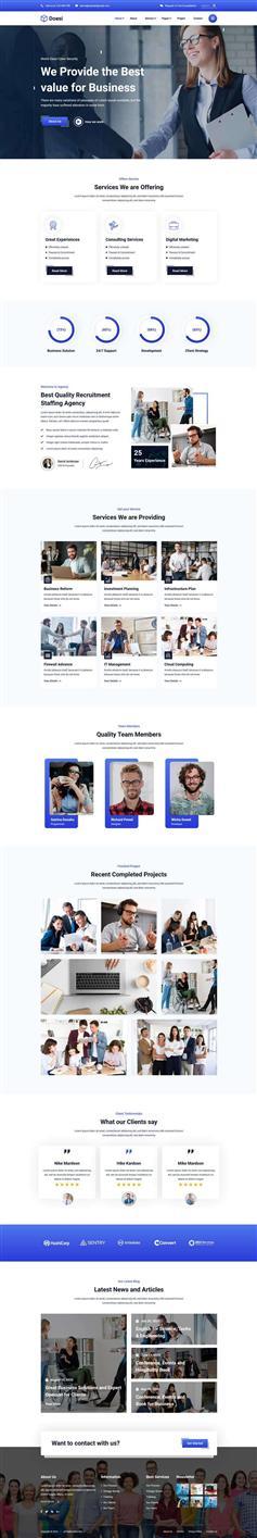 蓝色大气商业金融公司网站HTML模板