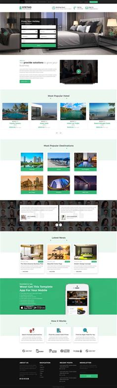 响应式设计酒店房间预订网页模板