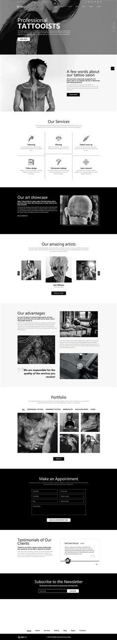 纹身工作室网站bootstrap4模板