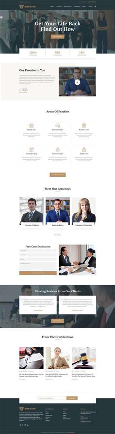 響應式英文律師法律服務網站模板