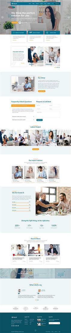 大氣藍色金融商務咨詢網站HTML5模板