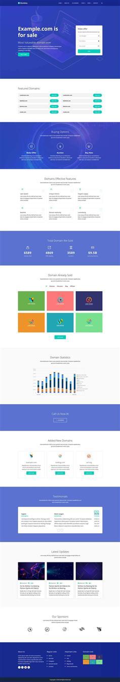 藍色響應式域名服務商代理網站html模板