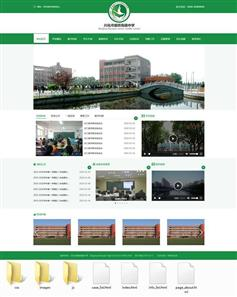 绿色的html高级中学网站前端静态模板