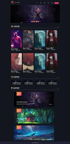 黑色html电影资讯博客网站模板