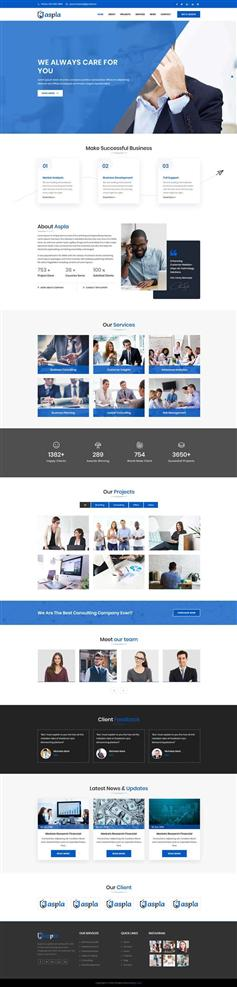 蓝色响应式商业咨询公司网站HTML5模板