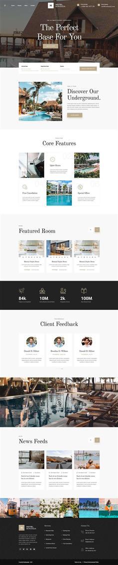 响应式星级豪华酒店介绍官网HTML5模板