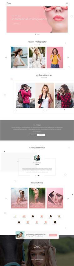 bootstrap摄影作品集图片博客网页模板