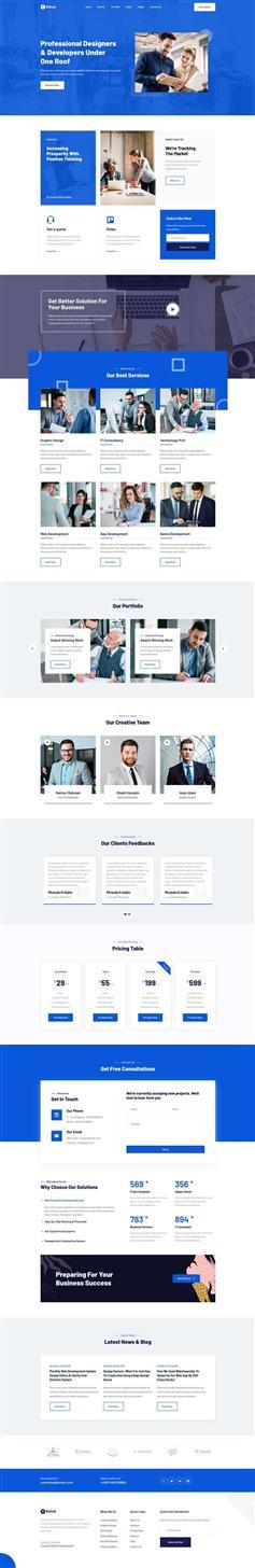 藍色HTML5商務咨詢業務網站前端模板