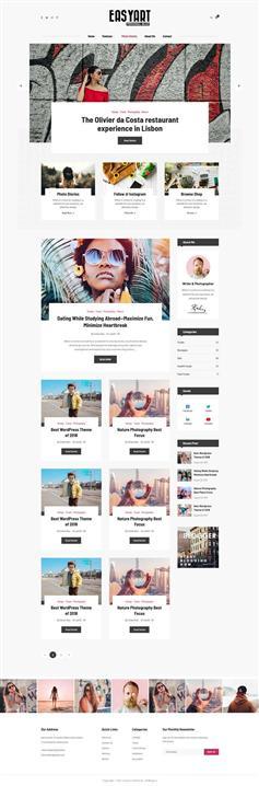 简单响应式个人图文博客HTML模板