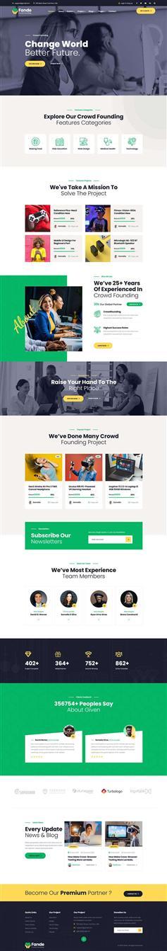 绿色大气HTML5创业投资众筹平台模板