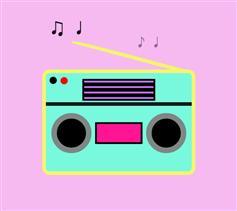 纯CSS3卡通收音机播放音符特效