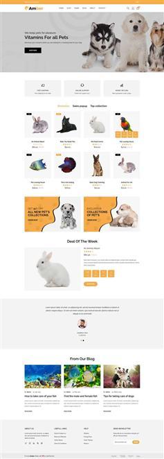 精美的HTML5宠物护理店铺电商模板